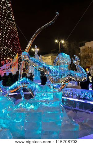 Ice Town With Sculptures In Yekaterinburg City, 2016