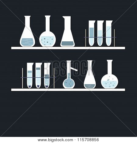 Chemical test tube on shelves, on black. White, blue, light blue colors