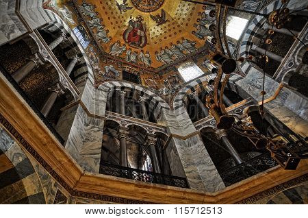 Aachen, Germany - 4 January 2014: Inside The Aachen Cathedral