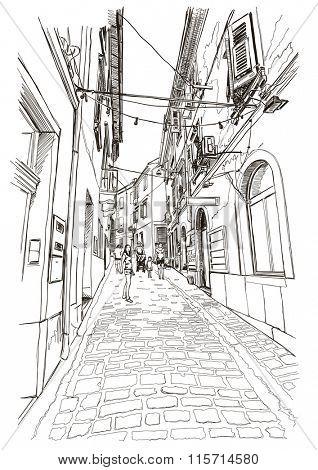 Street of old Mediterranean town Piran, Slovenia. Vector drawing.