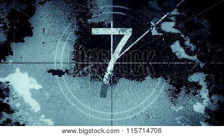 Film leader countdown frame showing the number seven.