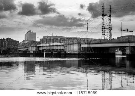 Moveable Bridge Over Water Black & White