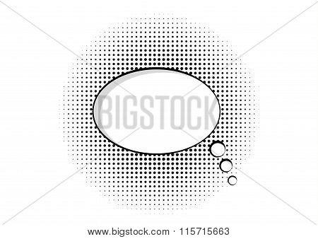 Cartoon Speech Pop Art Bubble Haltone Communication Background Vector Empty Cloud Symbol