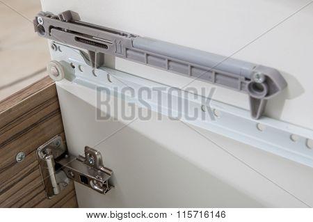 Undermount Drawer Slides - Glides Closeup Detail - Furniture Hardware - Kitchen Spare Parts