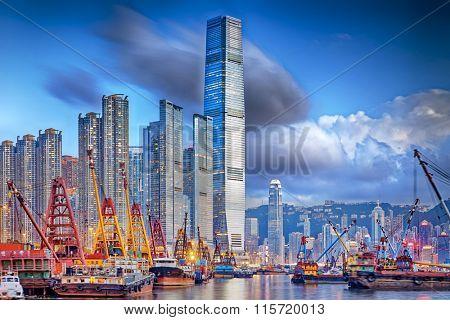 Hong Kong cityscape harbor view at sunset
