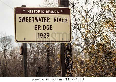 Historic Sweetwater River Truss Bridge Sign Marker