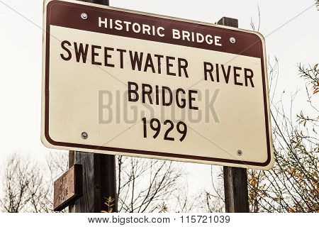 Sign Marker for Historic Sweetwater River Truss Bridge