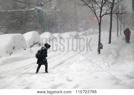 Woman Crossing Street During Snow Blizzard Jonas In The Bronx