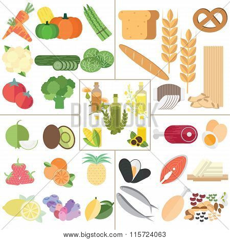 The 5 food group nutrition healthy food infographic.