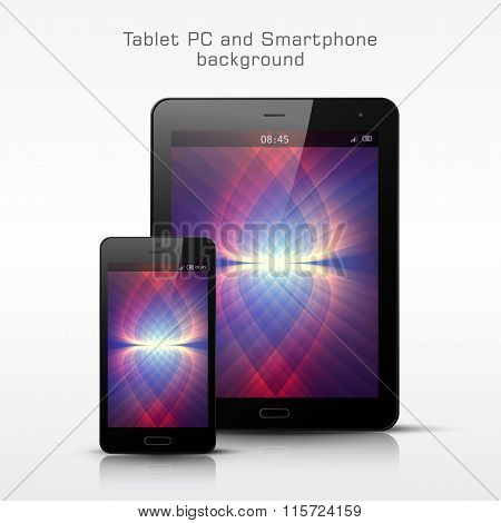 Black Mobile Phone And Tablet Pc Template