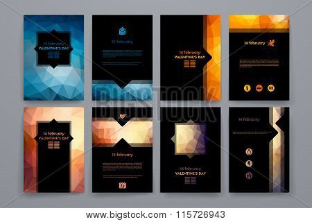 Set of brochures in poligonal style on Valentineys Day theme