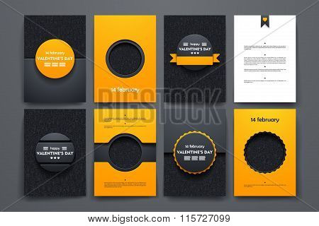 Vector brochures with doodles backgrounds on Valentineys Day theme