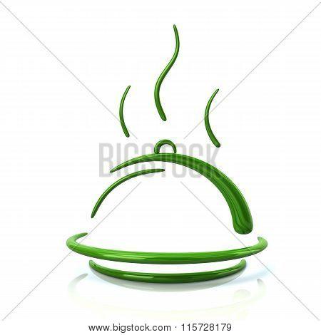 Illustration Of Green Restaurant Cloche