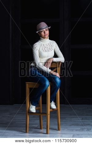 girl on a bar stool