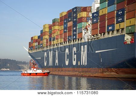 Port pilots are mandated for any ship larger than 300 tons