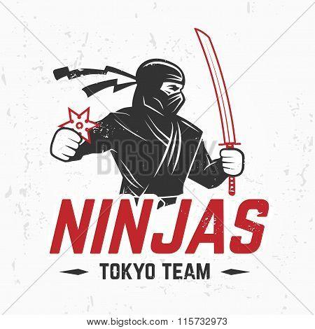 Japan Ninjas sport Logo concept. Katana weapon insignia design. Vintage ninja mascot badge. Martial
