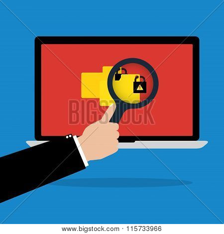 Human Hand Hold A Magnifying Glass Find Rasomware Cryptolocker Computer Virus On Laptop Notebook Wit