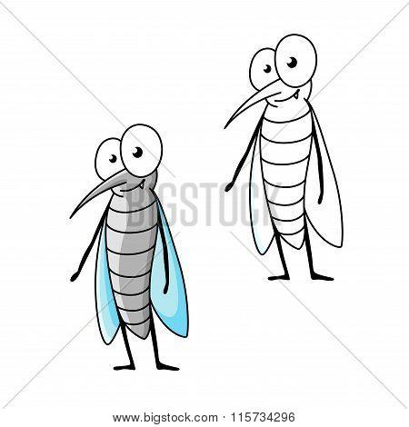 Friendly smiling cartoon gray mosquito