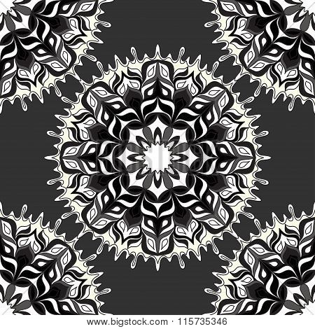 Monochrome Beautiful Seamless Pattern. Vintage Elements