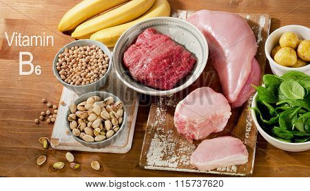 Foods Highest In Vitamin B6 On A Wooden Table.