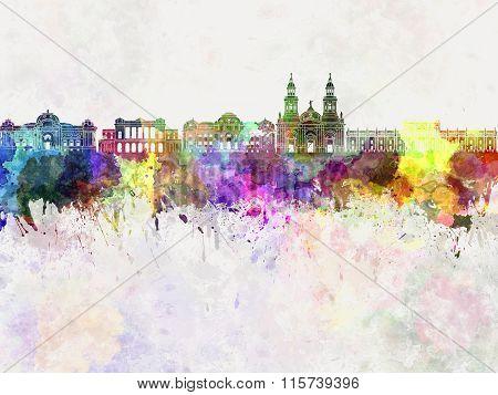 Santiago De Chile V2 Skyline In Watercolor Background
