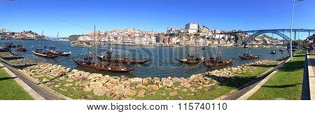 background panorama landscape postcard promenade Vila Nova de Gaia  overlooking the River Duoro