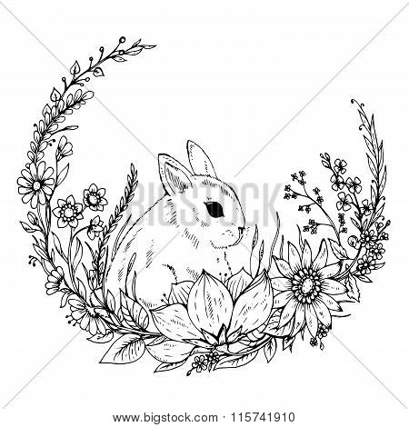 Cute Hand Drawn Rabbit With Wreath Of Flowers And Leafs