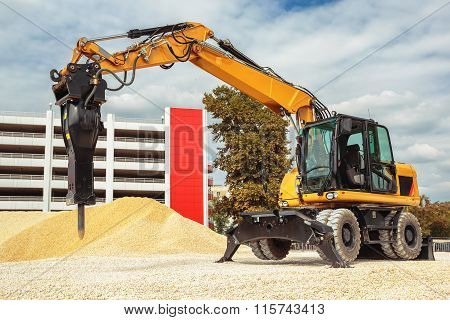 Backhoe Loader Or Bulldozer - Excavator With Clipping Path Isolated