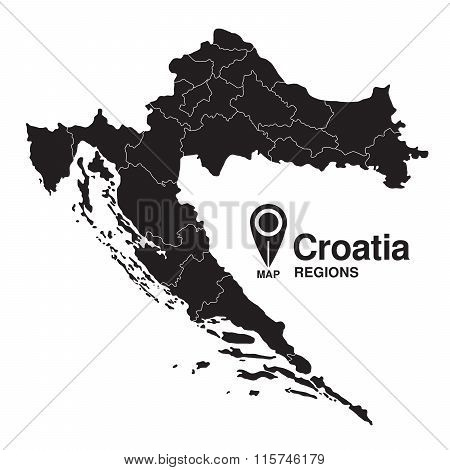 Regions Map Of Croatia