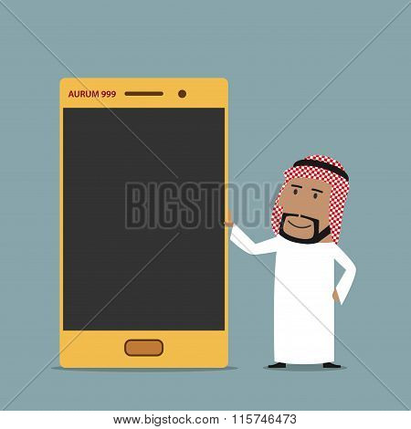 Arabian businessman with golden mobile phone