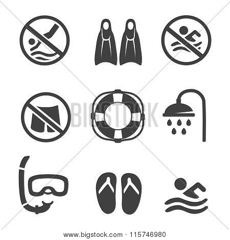 Swimming pool icons, diving, mask, flippers and shower. sport icons set
