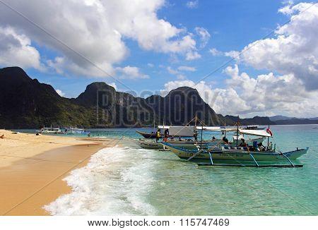 Golden dream sandy beach in Palawan