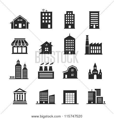 Building shop icon set