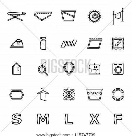 Cloth Care Sign And Symbol Line Icons On White