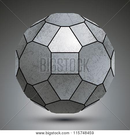 Dimensional Galvanized Element Created From Geometric Figures, Metallic 3D Globe.