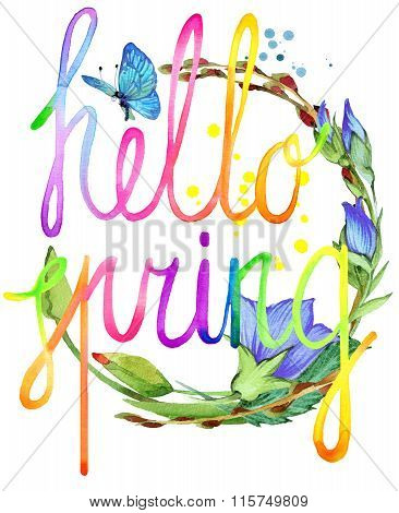 Hello Spring.  Watercolor spring flower and hand written text. Watercolor spring  illustration. Hell