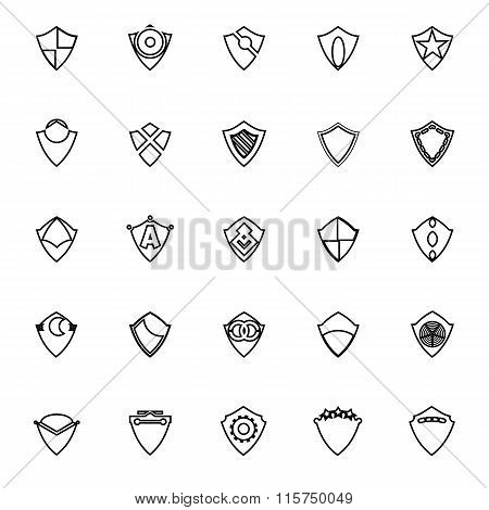 Design Shield Line Icons On White Background