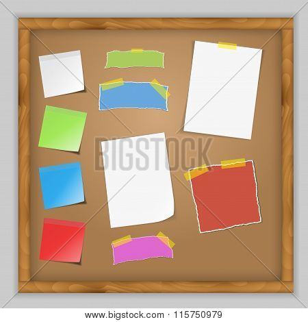 Notice board filled with various stationary items easy edit