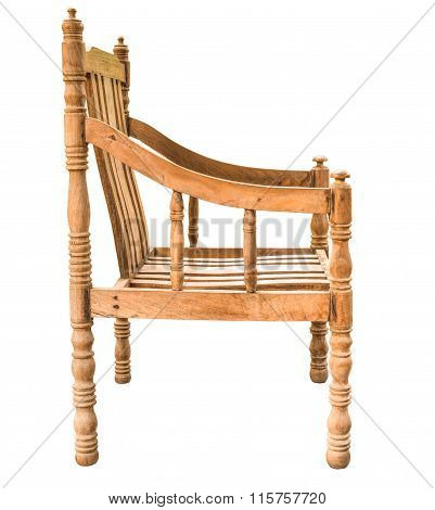 Old And Vintage Style Wooden Armchair Isolated On White Background