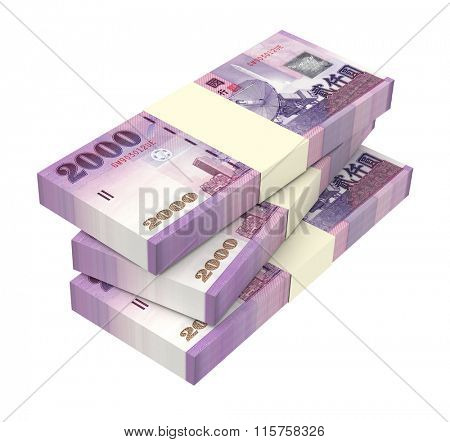 Taiwan dollars bills isolated on white background. Computer generated 3D photo rendering.
