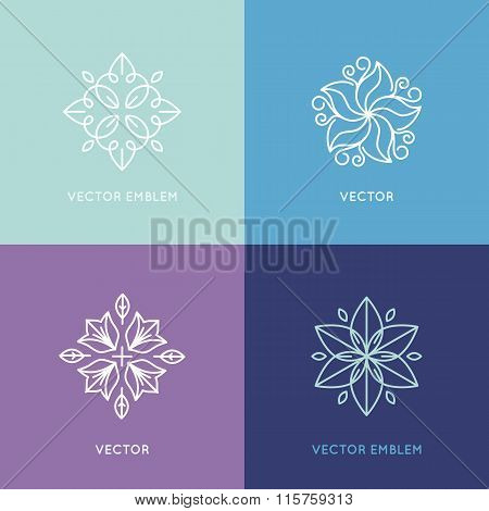 Vector Set Of Logo Design Templates And Symbols In Trendy Linear Style