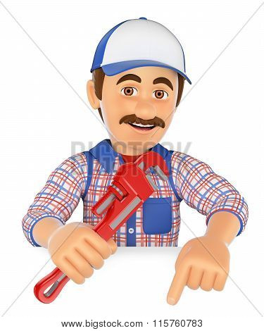 3D Plumber With A Pipe Wrench Pointing Down. Blank Space