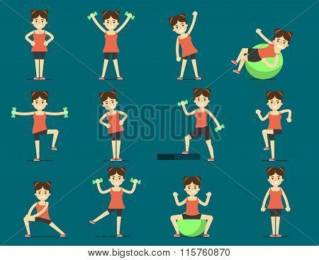 Girl plays sports. Beautiful body. Set Exercise