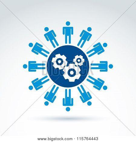 Vector Illustration Of Gears - Enterprise System Theme