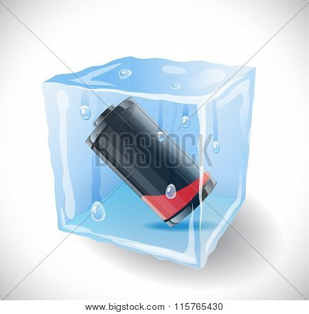 Ice cube with empty battery.