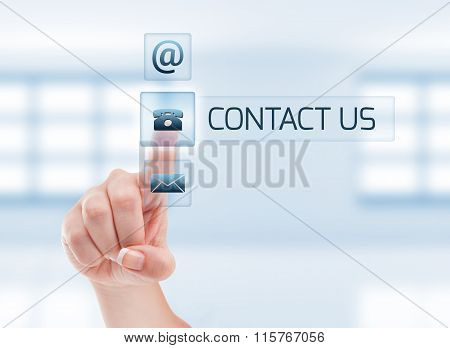 Contact Us Concept Using Female Hand.