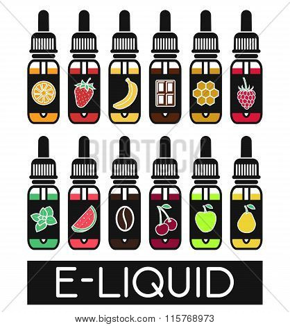 Vector Icons Of  Tastes Of Electronic Cigarette