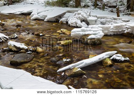 Mountain River Flowing In Winter Snowy Forest.