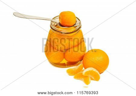 Jam In Jar With Spoon And Mandarin