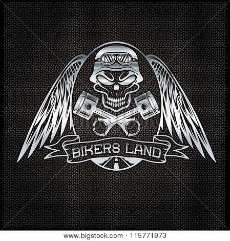 bikers land silver crest with skullwings and pistons poster